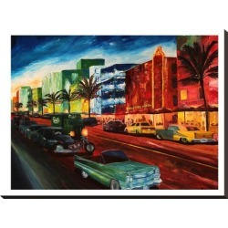 Stretched Canvas Print: Miami Ocean Drive With Mint Cadillac by M Bleichner: 32x24in found on Bargain Bro India from Art.com for $115.00