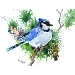 Art Print: Blue Jay 4 by Suren Nersisyan: 12x16in found on Bargain Bro from Art.com for USD $15.20