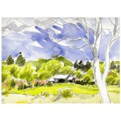 Art Print: Spring Comes to the Plateau and Looking Forward to the Flower Season by Kenji Fujimura: 11x17in