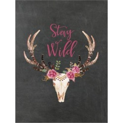 Art Print: Stay Wild Skull Chalkboard by Amy Brinkman: 32x24in found on Bargain Bro India from Art.com for $32.00