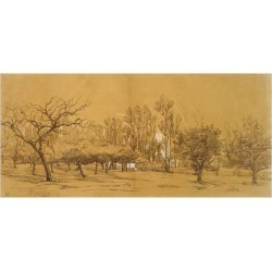 Giclee Print: View of an Orchard at Saint-Denis (Pen and Black Ink by Charles Francois Daubigny: 24x16in