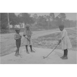 Art Print: African American Children Pretend to Play Golf on Country Road: 24x18in
