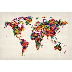 Art Print: Love Hearts Map of the World Map Wall Art by Michael Tompsett: 24x16in found on Bargain Bro from Art.com for USD $15.20
