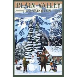 Art Print: Plain Valley, Washington - Snowman Scene by Lantern Press: 24x16in