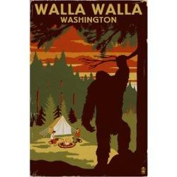 Art Print: Walla Walla, Washington - Home of Bigfoot by Lantern Press: 24x16in found on Bargain Bro India from Art.com for $35.00