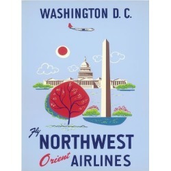 Giclee Print: Washington, D.C. - United States Capitol - Washington Monument - Fly Northwest Orient Airlines: 26x20in
