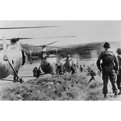 Photo: South Vietnamese Troops Run to Board Helicopters as American Advisors Watch, 1962: 24x16in