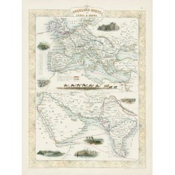 Art Print: Overland Routes - India and China by J. Rapkin: 24x18in