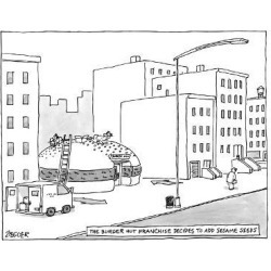 Premium Giclee Print: The Burger Hut Franchise Decides to Add Sesame Seeds - Men hammer seeds o. - New Yorker Cartoon by Jack Ziegler: 12x9in