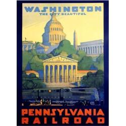 Giclee Print: Pennsylvania Railroad, Washington D.C. Art Print by Grif Teller by Grif Teller: 44x32in