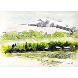Art Print: Mountain Village Filled with Wild Cherry Trees and Spring Haze by Kenji Fujimura: 18x24in