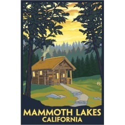 Art Print: Mammoth Mountain, California - Cabin in the Woods by Lantern Press: 24x16in found on Bargain Bro India from Art.com for $35.00