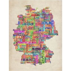 Art Print: Text Map of Germany Map Art Print by Michael Tompsett: 24x18in found on Bargain Bro India from Art.com for $20.00
