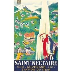 Premium Giclee Print: Saint-Nectaire - Auvergne, France - Casino, Golf - Station du Rein - PLM French Railroad by Roger De Valerio: 24x18in