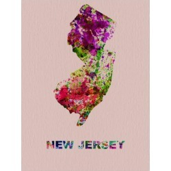 Art Print: New Jersey Color Splatter Map by NaxArt: 16x12in