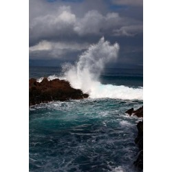 Photographic Print: Waves Crashing on a Rocky Shore under a Cloud-Filled Sky by Joshua Howard: 24x16in