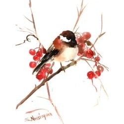 Art Print: Chickadee 6 by Suren Nersisyan: 16x12in found on Bargain Bro Philippines from Art.com for $15.00