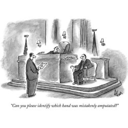"Premium Giclee Print: ""Can you please identify which hand was mistakenly amputated?"" - New Yorker Cartoon by Frank Cotham: 12x9in"