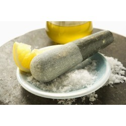 Photographic Print: Coarse Salt with Pestle, Lemon and Olive Oil by Foodcollection: 24x16in