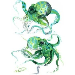 Art Print: Green Octopuse by Suren Nersisyan: 16x12in found on Bargain Bro India from Art.com for $20.00
