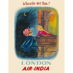 Giclee Print: London, England - Wherefor Art Thou? - Maharajah Mascot Romeo - Air India by Pacifica Island Art: 14x11in