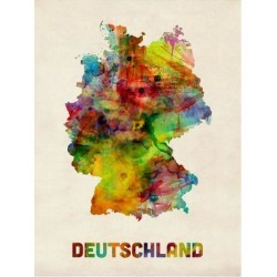 Art Print: Germany Watercolor Map (Deutschland) by Michael Tompsett: 24x18in found on Bargain Bro India from Art.com for $20.00