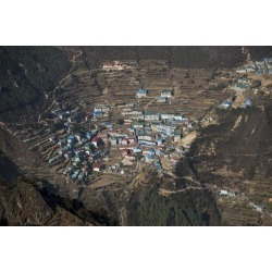 Photographic Print: A view from Kongde looking down on Namche, the biggest village in Khumbu, the Everest region, Nepal by Alex Treadway: 24x16in
