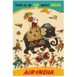 Art Print: Air India - There is an Air about India - Maharaja in Howdah (Carriage) on Regal Elephant: 19x13in