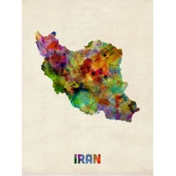 Art Print: Iran Watercolor Map by Michael Tompsett: 24x18in found on Bargain Bro India from Art.com for $20.00