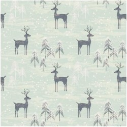 Art Print: Deer in Winter Pine Forest. Seamless Pattern with Hand Drawn Design for Christmas and New Year Gree by Lidiebug: 12x12in