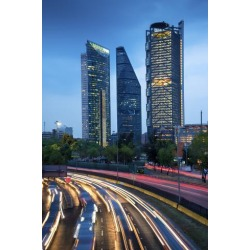 Photographic Print: Mexico, Mexico City, Traffic Passes By Mexico City's Three Towers, Tallest Skyscrapers In The City, by John Coletti: 36x24in