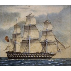 Giclee Print: English Third-Rate Sailing Ship with 74 Guns in Genoa in April, 1849, Watercolor by Adene, 1858: 24x18in