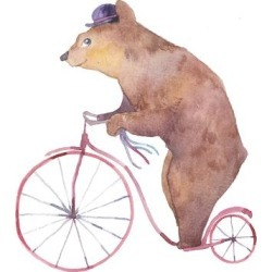 Art Print: Watercolor Cartoon Bear on Retro Bicycle. Hand Drawn Fairytale Animal with Hat and Vintage Transpor by Eisfrei: 12x12in