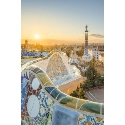 Photographic Print: Barcelona, Catalonia, Spain, Southern Europe. Unique Antoni Gaudi's architecture of Park Guell at s by Marco Bottigelli: 36x24in found on Bargain Bro Philippines from Art.com for $30.00