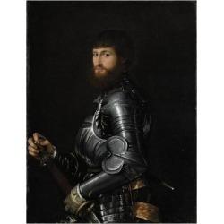 Art Print: Portrait of a Nobleman in Armor by Giambattista Moroni & Lorenzo Lotto: 24x18in