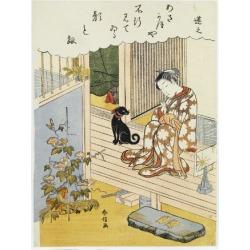Giclee Print: A Courtesan Seated on a Verandah Brushing Her Teeth by Suzuki Harunobu: 24x18in found on Bargain Bro India from Art.com for $25.00