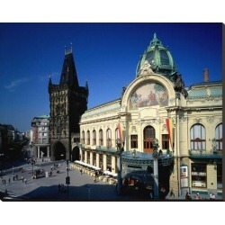 Stretched Canvas Print: Powder Tower, Municipal House, Prague, Central Bohemia, Central Bohemia, Czech Republic: 38x48in found on Bargain Bro India from Art.com for $236.00