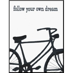 Mounted Print: Bicycle - Follow Your Own Dream by Lisa Weedn: 22x16in