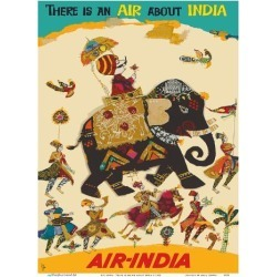 Art Print: Air India - There is an Air about India - Maharaja in Howdah (Carriage) on Regal Elephant: 12x9in