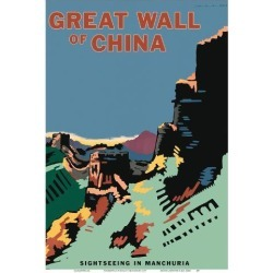Art Print: The Great Wall of China - Sightseeing in Manchuria (Manzhou) - Manzhou Railway Administration by Seibin Higuchi: 19x13in