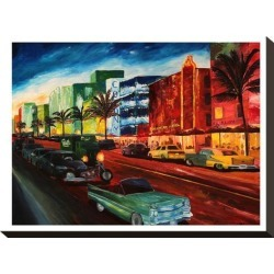 Stretched Canvas Print: Miami Ocean Drive With Mint Cadillac by M Bleichner: 16x12in found on Bargain Bro India from Art.com for $75.00