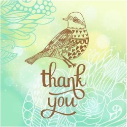 Art Print: Thank You Card in Blue Colors. Stylish Floral Background with Text and Cute Cartoon Bird in Vector. by smilewithjul: 24x18in