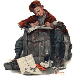 """Giclee Print: """"Pen Pals"""", January 17,1920 Art Print by Norman Rockwell by Norman Rockwell: 16x16in"""