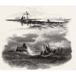 Giclee Print: New Brunswick, Beacon Light, St. John, at Low and High Tide, Canada, Nineteenth Century: 16x16in