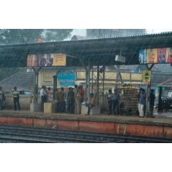 Photographic Print: Monsoon Cloudburst on Ernakulam Railway Station: 24x16in