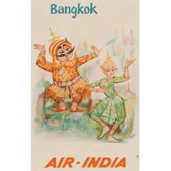 Premium Giclee Print: Bangkok, Thailand - Air India - Maharaja with Thai Classical Khon Dancer: 36x24in