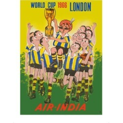 Premium Giclee Print: 1966 World Cup London, England - Air India - Maharaja Soccer Player by Pacifica Island Art: 16x12in
