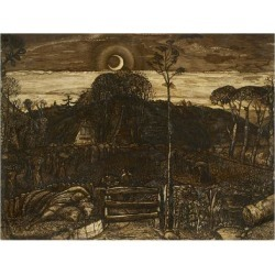 Giclee Print: Late Twilight, 1825 (Pen and Dark Brown Ink with Brush in Sepia Mixed with Gum Arabic; Varnished) by Samuel Palmer: 24x18in