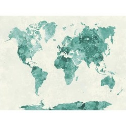Art Print: World Map in Watercolor Green by paulrommer: 24x18in