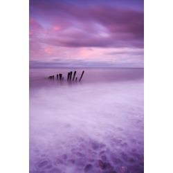 Photographic Print: Wooden posts at high tide on Porlock Beach, Exmoor, Somerset. by Adam Burton: 36x24in